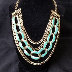 MIKA Multi Strand Chain Link Statement Necklace